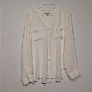 Banana Republic | Sheer Cream blouse size large